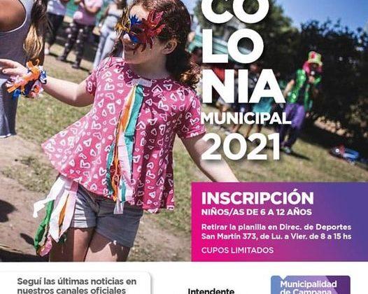 COMIENZA LA INSCRIPCIÓN A LA COLONIA MUNICIPAL 2021